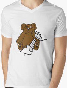 boy cuddling stuffed animal sitting cute little teddy thick sweet cuddly comic cartoon Mens V-Neck T-Shirt