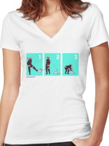 Ninja + Trash Can (Red Lineart) Women's Fitted V-Neck T-Shirt
