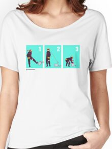 Ninja + Trash Can (Red Lineart) Women's Relaxed Fit T-Shirt