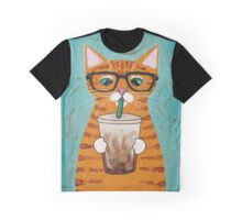 Iced Coffee Cat Graphic T-Shirt