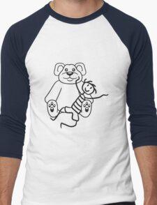 boy cuddling stuffed animal sitting cute little teddy thick sweet cuddly comic cartoon Men's Baseball ¾ T-Shirt