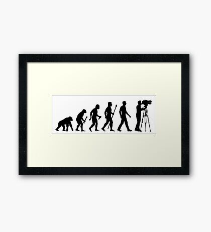 Funny Evolution of Cameraman Framed Print
