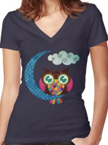 My Crescent Owl Women's Fitted V-Neck T-Shirt