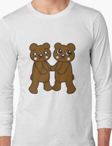 holding hands couple couple friends love love woman man team Teddy Bear comic cartoon sweet cute Long Sleeve T-Shirt