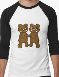 holding hands couple couple friends love love woman man team Teddy Bear comic cartoon sweet cute Men's Baseball ¾ T-Shirt