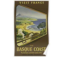 Visit France The Basque Coast Vintage Travel Poster Poster