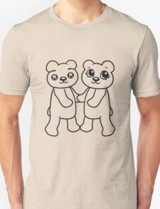 holding hands couple couple friends love love woman man team Teddy Bear comic cartoon sweet cute Unisex T-Shirt
