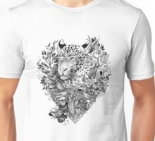 black and white Jungle Leopard Unisex T-Shirt