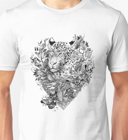 black and white Jungle Leopard Unisex T-Shirt