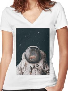 Space Dog Women's Fitted V-Neck T-Shirt