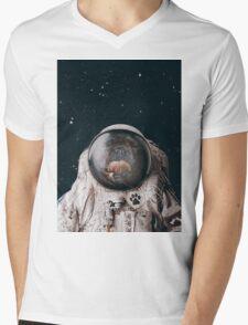 Space Dog Mens V-Neck T-Shirt