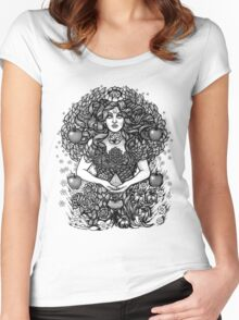 Divine Mother Gea Tree / BW Women's Fitted Scoop T-Shirt