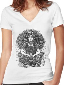 Divine Mother Gea Tree / BW Women's Fitted V-Neck T-Shirt