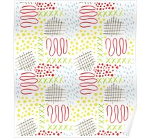 colorful doodle mark pattern Poster