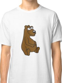 great funny sitting thick grizzly bear comic cartoon Classic T-Shirt