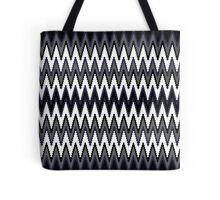 Blue Black & White Chevron Pattern Tote Bag