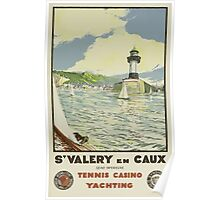 Saint-Valery-en-Caux France Tennis Casino Yachting Vintage Travel Poster Poster