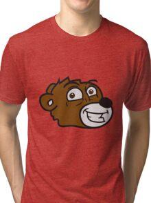 grin smile comic cartoon head face sweet little cute polar teddy bear funny Tri-blend T-Shirt