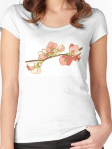 Pink on White Blossoms Women's Fitted Scoop T-Shirt