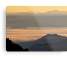 Dawning Sunbeams Fall Across Valley Fog Metal Print
