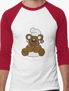 grillmeister cuisines chef chef hat cook barbecue restaurant cook delicious food sweet little cute teddy bear sitting funny dick Men's Baseball ¾ T-Shirt