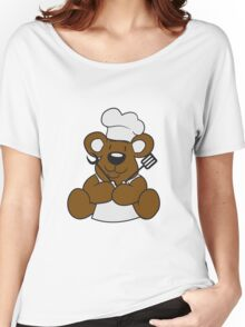 grillmeister cuisines chef chef hat cook barbecue restaurant cook delicious food sweet little cute teddy bear sitting funny dick Women's Relaxed Fit T-Shirt