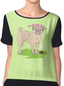 Pink Puggy Pug Dog girl with cute little bow Chiffon Top