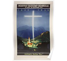 Passion Play Tercentenary 1934 Germany vintage Travel Poster Poster