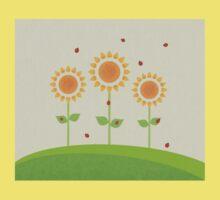 Sunflowers and Ladybugs Illustration Kids Tee