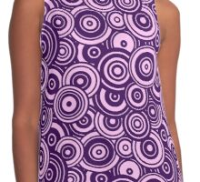 Mod Target concentric circles repeating pattern, purple Contrast Tank