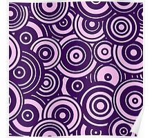 Mod Target concentric circles repeating pattern, purple Poster