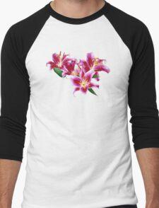 Stargazer Lily Heart Men's Baseball ¾ T-Shirt