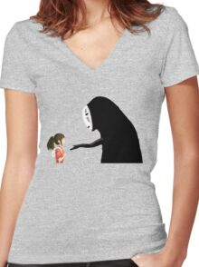 Spirited Away Pixel  Women's Fitted V-Neck T-Shirt
