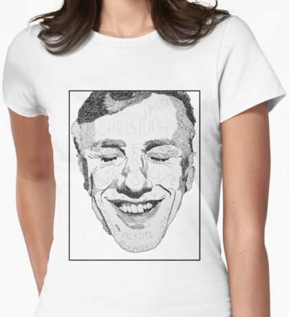 DESCRIPTIVE TEXT PORTRAIT: CHRISTOPH WALTZ Womens Fitted T-Shirt
