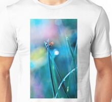 fly in the dewy grass bright sunny morning bokeh background Unisex T-Shirt