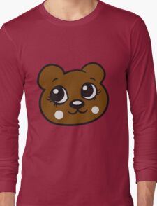 face head female woman girl sweet cute comic cartoon teddy bear Long Sleeve T-Shirt