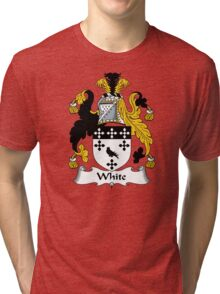 White Coat of Arms / White Family Crest Tri-blend T-Shirt