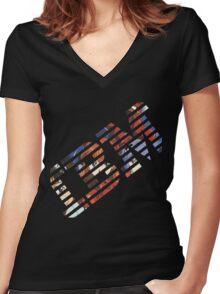 Vaporwave IBM/Neon Genesis Evangelion Mashup Women's Fitted V-Neck T-Shirt