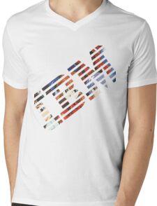 Vaporwave IBM/Neon Genesis Evangelion Mashup Mens V-Neck T-Shirt