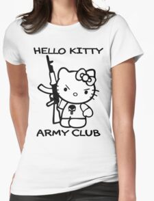 Hello Kitty Army Club Womens Fitted T-Shirt