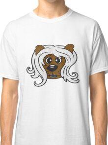 face head girl woman female long hair nice pretty sitting Teddy Bear comic cartoon sweet cute Classic T-Shirt