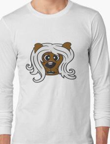 face head girl woman female long hair nice pretty sitting Teddy Bear comic cartoon sweet cute Long Sleeve T-Shirt