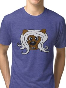face head girl woman female long hair nice pretty sitting Teddy Bear comic cartoon sweet cute Tri-blend T-Shirt