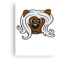 face head girl woman female long hair nice pretty sitting Teddy Bear comic cartoon sweet cute Canvas Print
