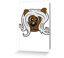face head girl woman female long hair nice pretty sitting Teddy Bear comic cartoon sweet cute Greeting Card