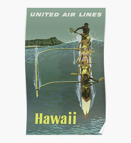 Hawaii United Airlines Vintage Travel Poster Poster