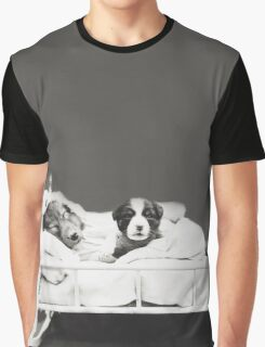 Harry Whittier Frees - Puppy With Mother in Bed Graphic T-Shirt
