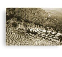 Temple of Apollo and Theatre, Delphi 1960, Gold-toned Canvas Print