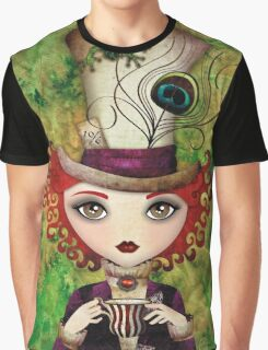 Lady Hatter (w/background) Graphic T-Shirt