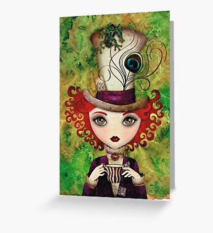 Lady Hatter (w/background) Greeting Card